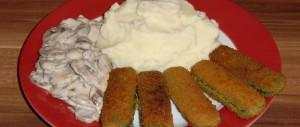 Kartoffelbrei mit Rahmchampignons und Spinatstäbchen