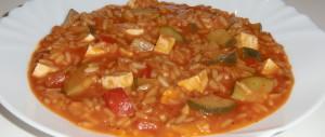 Mediterraner Zucchini-Paprika-Reis-Eintopf
