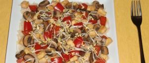 Tofu-Paprika-Champignon-Pfanne mit Vollkornreis