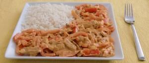 Lupinen-Paprika-Geschnetzeltes mit Reis