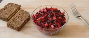 Belugalinsensalat mit Rote Bete, Karotten und Äpfeln