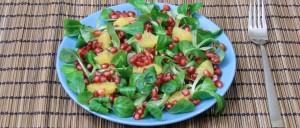 Feldsalat mit Orangenfilets und Granatapfelkernen